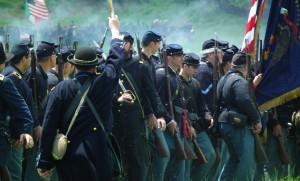 Reenactors Marching